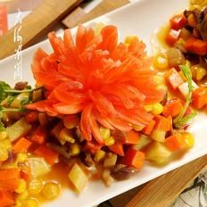 绿咖喱菊花羊肉饭