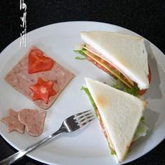 芝士蔬菜午餐肉三明治