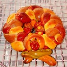 彩色圣诞花环面包