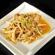 白玉菇炒瘦肉丝