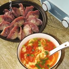 早餐:水煎饺+番茄鸡蛋汤+烤薯片