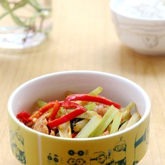 芹菜红椒炒肉片