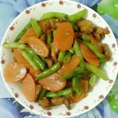 四季豆胡萝卜炒五花肉