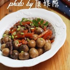 黑椒草菇炒牛肉