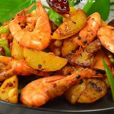 干锅鲜虾土豆