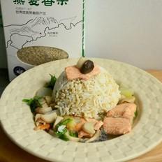 燕麦饭&三文鱼蘑菇汤