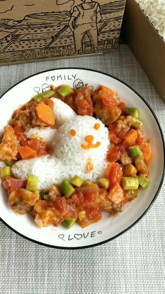 茄汁鱼块盖饭的做法