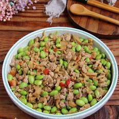 萝卜干肉末炒毛豆子