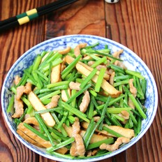 韭菜苔豆干炒肉丝