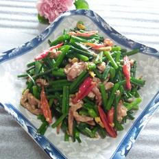 韭菜花红椒炒肉丝
