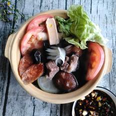 羊肉蔬菜小火锅