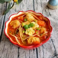 番茄杏菇肉丸汤