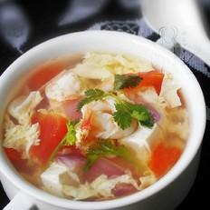 洋葱虾仁豆腐汤