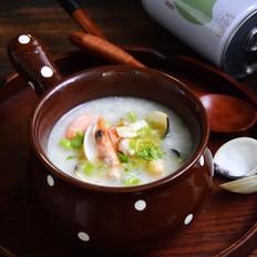 鲜虾白贝砂锅粥