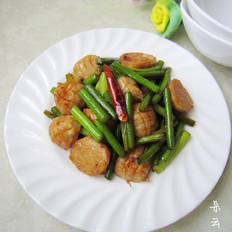 肉丸炒蒜苔