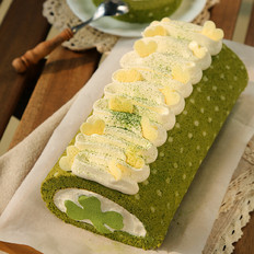水玉抹茶夹心蛋糕卷