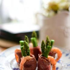 培根鲜虾芦笋卷