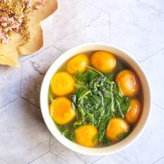 鸡毛菜煮南瓜汤圆