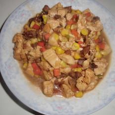 肉丁玉米粒胡萝卜烧豆腐