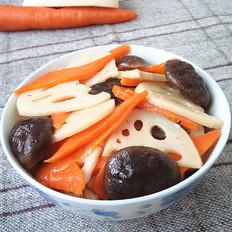 胡萝卜莲藕炒香菇
