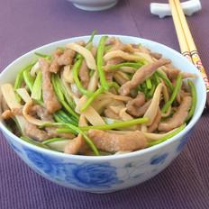 肉丝炒香菜杏鲍菇