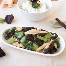 鸡胸肉炒木耳小白菜