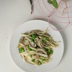 茭白蘑菇毛豆炒肉丝