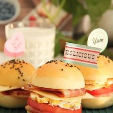 开学日早餐,汉堡三明治,庆祝神兽归笼啦