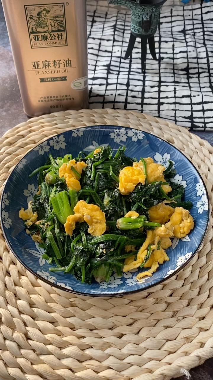 亚麻籽油(胡麻油)菠菜炒鸡蛋