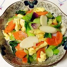 鸡蛋山药炒油菜