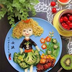 卷发女孩创意儿童餐