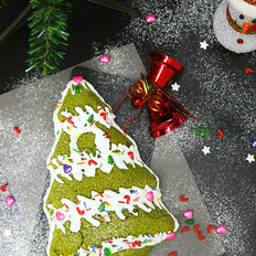 烫面抹茶海棉蛋糕圣诞树