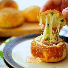 培根芝士面包盅的做法