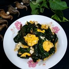 地瓜叶虾酱炒鸡蛋