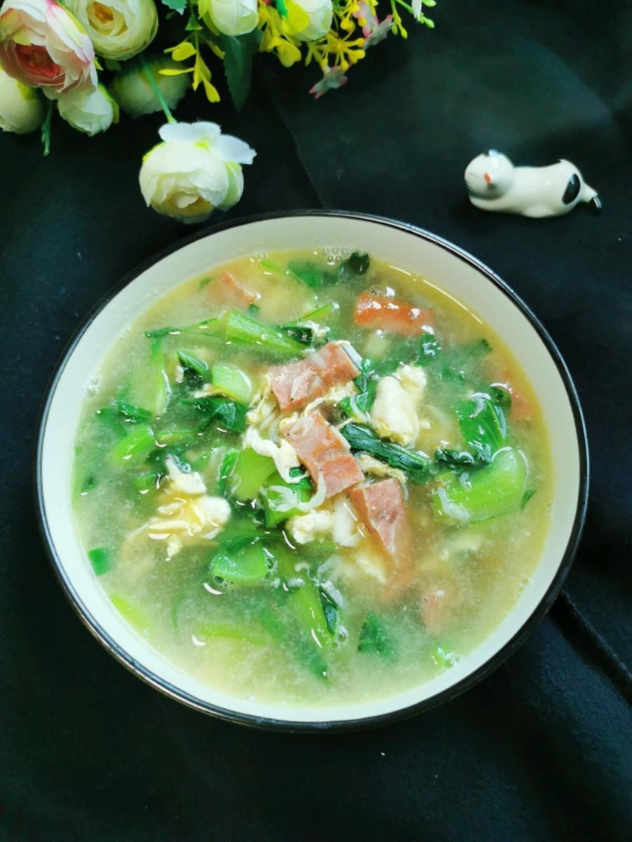 火腿虾皮油菜汤