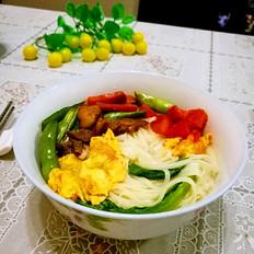 四季豆肉末西红柿鸡蛋面条