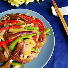 双椒茄子炒肉丝