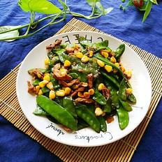 荷兰豆玉米粒炒肉
