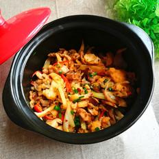 砂锅焗秀珍菇花菜煲