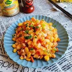 酸辣玉米胡萝卜莴笋炒鸡丁