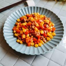 玉米胡萝卜炒鸭肉丁