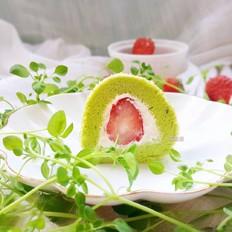 青汁奶油草莓卷