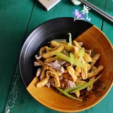 西芹油豆腐炒肉丝