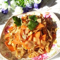 笋皮胡萝卜炒五花肉