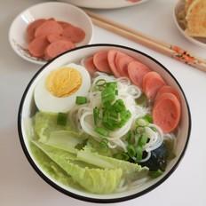 菜芯火腿鸡蛋汤面