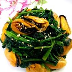 菠菜炒青口