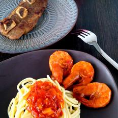茄汁鲜虾拌意面