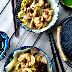 白菜平菇炖鸡块