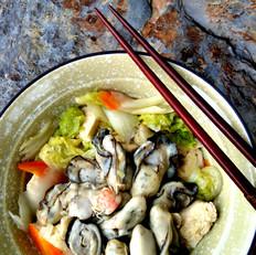 白菜海蛎子炖冻豆腐