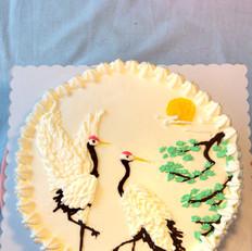 松鹤延年祝寿生日蛋糕